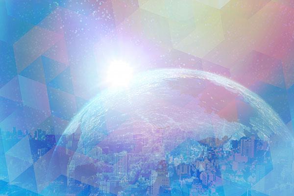 地球と町とパステルの光