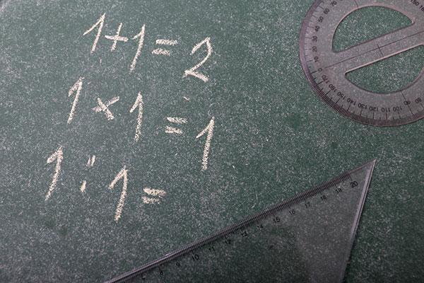 黒板に九九が書かれている様子